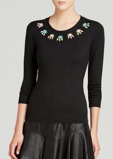 DIANE von FURSTENBERG Sweater - Jeweled Neckline