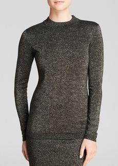 DIANE von FURSTENBERG Sweater - Metallic Mock Neck