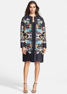 Diane von Furstenberg 'Sylvia' Print Wool & Silk Coat