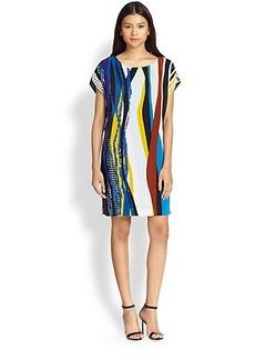 Diane von Furstenberg Tania Striped Sequin Silk Dress