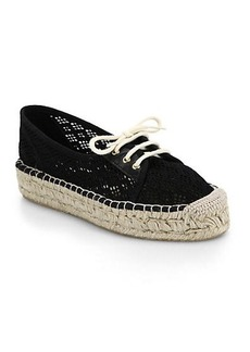 Diane von Furstenberg Tareena Crocheted Lace-Up Espadrilles