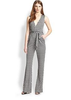Diane von Furstenberg Terria Silk Printed Jumpsuit