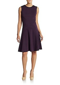 Diane von Furstenberg Textured-Panel A-Line Dress