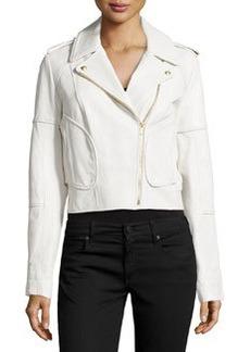 Diane Von Furstenberg Theodora Asymmetric Leather Moto Jacket, White