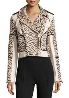 Diane von Furstenberg Theodora Cheetah-Print Jacket with Trim, Carmel/Pearl Black