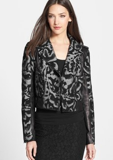 Diane von Furstenberg 'Theodora Leo' Leather Accent Jacket