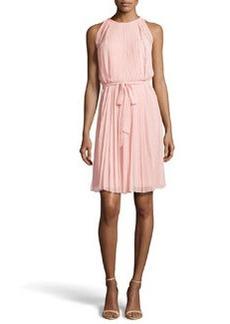 Diane von Furstenberg Tie-Waist Plisse Dress, Blush