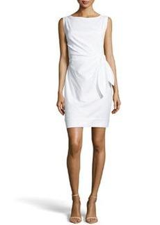 Diane von Furstenberg Tie-Waist Poplin Sheath Dress, White