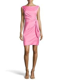 Diane von Furstenberg Tie-Waist Ruched Dress, Hot Pink