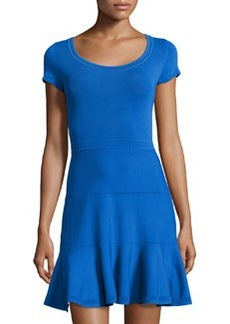 Diane von Furstenberg Tiered Fit-and-Flare Stretch Dress, Iris
