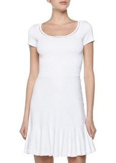 Diane von Furstenberg Tiered Fit-and-Flare Stretch Dress, White