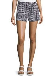 Diane von Furstenberg Tiffany Clean Printed Silk Shorts, Floral Lace Simple Black