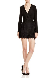 DIANE von FURSTENBERG Tillie Mixed Media Wrap Romper
