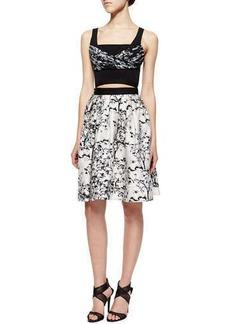 Diane von Furstenberg Toile-Pattern A-Line Cutout Dress