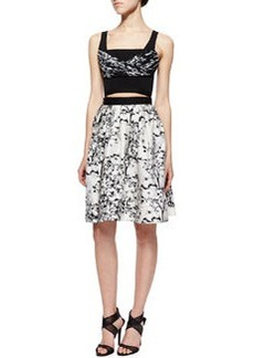 Diane von Furstenberg Toile-Pattern A-Line Cutout Dress