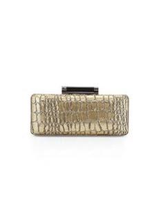 Diane von Furstenberg Tonda Crocodile-Print Evening Clutch Bag, Gold