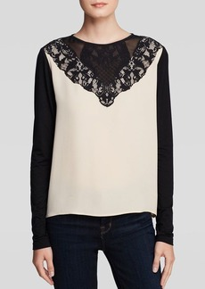DIANE von FURSTENBERG Top - Lace Trim Silk