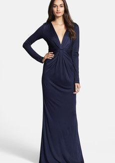 Diane von Furstenberg Twist Front Long Sleeve Gown