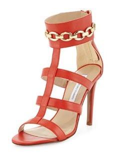 Diane von Furstenberg Uma Leather Sandal, Cayenne