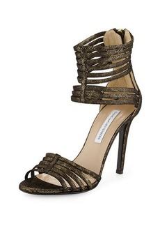Diane von Furstenberg Ursula Metallic Suede Ankle-Wrap Pump
