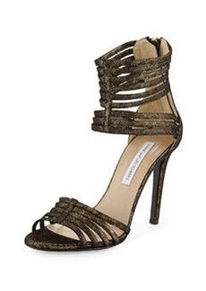 Diane von Furstenberg Ursula Metallic Suede Ankle-Wrap Pump, Gold Metal Animal Print