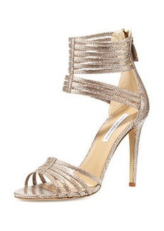 Diane von Furstenberg Ursula Strappy Metallic Sandal, Silver