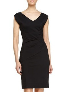 Diane von Furstenberg V-Neck Ruched Waist Dress, Black