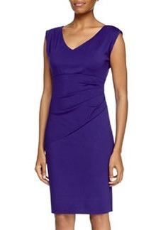 Diane von Furstenberg V-Neck Ruched Waist Dress, Chrome Purple