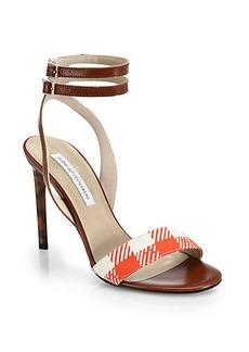Diane von Furstenberg Vera Leather & Gingham Sandals