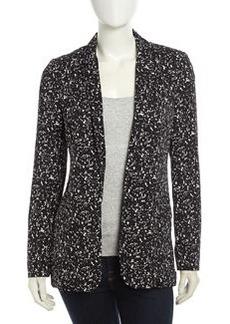 Diane von Furstenberg Vint Fleck-Print Silk Jacket, Black/White