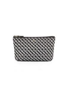 Diane von Furstenberg Voyage Chain-Link Quilted Cosmetic Bag, Black/White