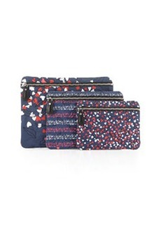 Diane von Furstenberg Voyage Cosmetic Bag 3-Pack Set, Navy/Multicolor