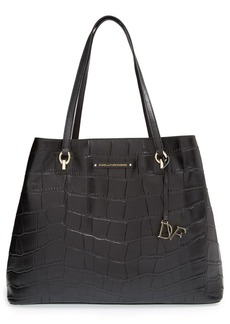 Diane von Furstenberg 'Voyage Ready to Go - Large' Croc Embossed Leather Tote