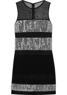 Diane von Furstenberg Wally crystal-embellished mesh and crepe mini dress
