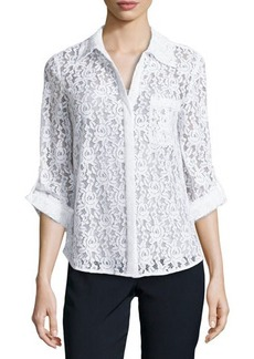 Diane von Furstenberg White Lace Shirt with Tab Sleeves  White Lace Shirt with Tab Sleeves
