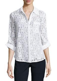 Diane von Furstenberg White Lace Shirt with Tab Sleeves