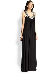 Diane von Furstenberg Willema Silk Embellished-Neck Maxi Dress