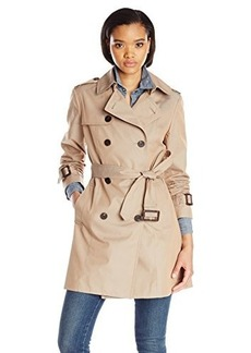 Diane von Furstenberg Women's Double Breasted Trench Coat, Khaki, Large