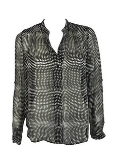 Diane von Furstenberg Women's Harlow Chiffon Plaid Blouse, Optic Plaid Black, 4