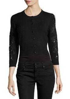 Diane von Furstenberg Wool-Blend Lace-Inset Cardigan, Black/Black