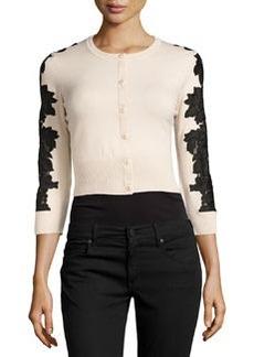Diane von Furstenberg Wool-Blend Lace-Inset Cardigan, Champagne/Black