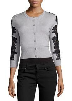 Diane von Furstenberg Wool-Blend Lace-Inset Cardigan, Fog/Black