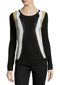 Diane von Furstenberg Wool Colorblock Sweater, Black/Fog/White/Glow Light
