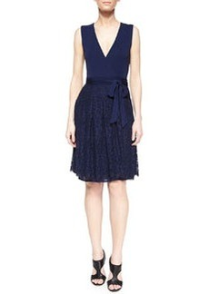 Diane von Furstenberg Wrap-Front Lace-Skirt Combo Dress, Navy