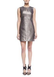 Diane von Furstenberg Yvette Metallic/Solid Fitted Dress