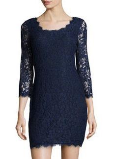 Diane Von Furstenberg Zarita Long-Sleeve Lace Dress, Navy