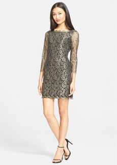 Diane von Furstenberg 'Zarita' Metallic Lace Sheath Dress