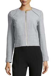 Diane von Furstenberg Zip-Front Short Jacket, Heather Gray