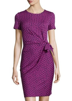 Diane von Furstenberg Zoe Floral-Check Ruched Dress