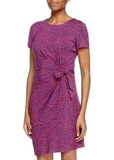 Diane von Furstenberg Zoe Ruched Waist Jersey Dress, Leopard Camo/Red